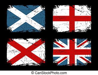 grunge, flaggan, brittisk, kollektion