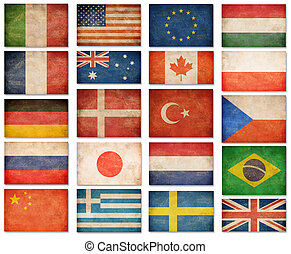 Grunge flags: USA, Great Britain, Italy, France, Denmark,...