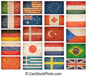 grunge, flags:, usa, wielka brytania, włochy, francja,...