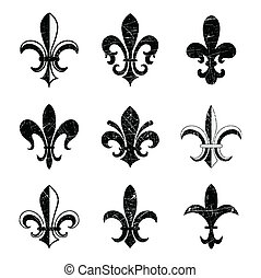 Grunge Fleur De Lis - Fleur De Lis elements. Colors are...
