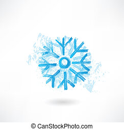 grunge, flocon de neige, icône