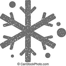 grunge, -, flocons neige, icône