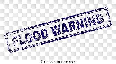 Grunge FLOOD WARNING Rectangle Stamp