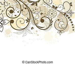 grunge, flor, plano de fondo, con, mariposa