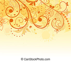 grunge, flor, plano de fondo, elemento, para, diseño