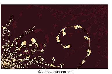 grunge, flor, plano de fondo