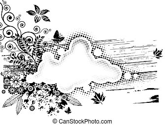 Vector of Black and white Grunge Flora composition.