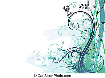 grunge, floral, achtergrond