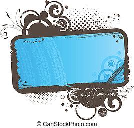 grunge, floral, azul, quadro