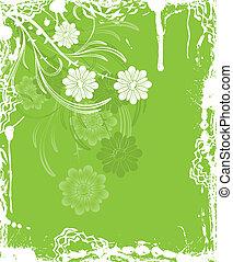 Grunge floral background, elements for design, vector