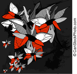 grunge floral background for text