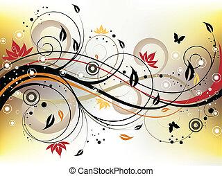 Grunge Floral Background - Vector illustration of an...