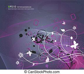 Grunge floral background - Vector