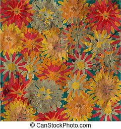Grunge floral background vintage card