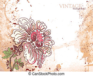 Grunge floral background with flower