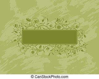 Grunge floral banner.