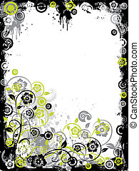 Grunge floral border, vector