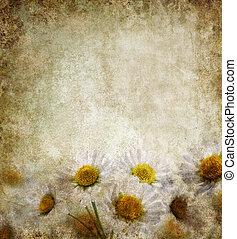 grunge, floral, fond