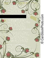 Grunge floral frame background