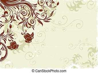 Grunge floral frame with bud, element for design, vector...