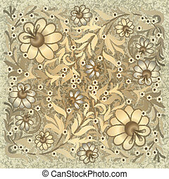 grunge floral ornament on vintage background