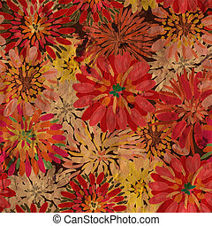 Grunge floral pattern with paper texture
