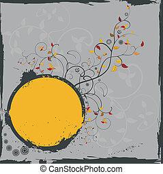 Grunge floral vector frame