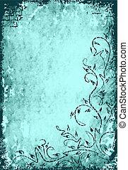 grunge, floreale, ramo, disegno, su, turchese, fondo