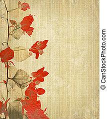 Grunge Flower Art on Bamboo Background