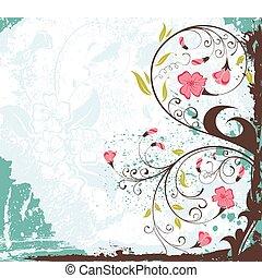 Grunge flower background - Grunge paint flower background, ...