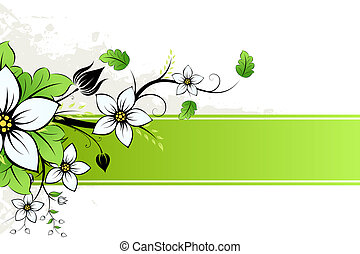Grunge Flowers AD - Grunge AD with spring flowers and leaves
