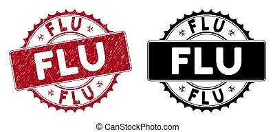 Grunge Flu Round Red Stamp Seal