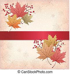 grunge, foglie, struttura, autunno, fondo, acero