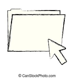 grunge folder file with arrow cursor mouse