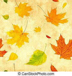 grunge, folhas, voando, seamless, outono, fundo