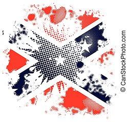 grunge, fond, confédéré, halftone, drapeau