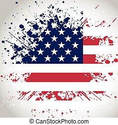 grunge, fond, drapeau, américain