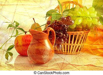 grunge, fond, fruits
