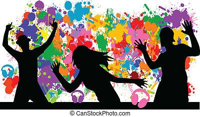 grunge, fond, party-
