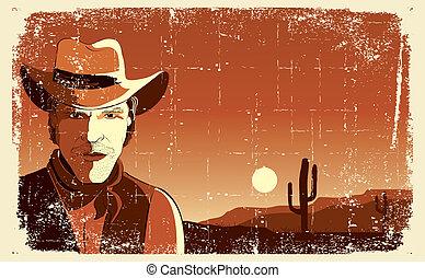 grunge, fond, portrait, man., vecteur, cow-boy, affiche
