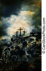 grunge, fond, trois, croix, golgotha