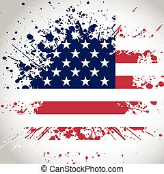grunge, fondo, bandiera, americano