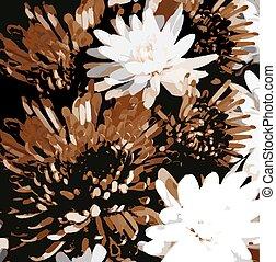 grunge, fondo, floreale, abbozzare, crisantemi, macchiato