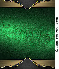 grunge, fondo, oro, elemento, bordi, verde, sagoma, design.