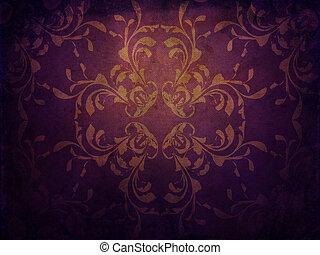 grunge, fondo púrpura, con, patrón