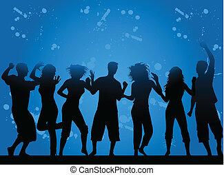 grunge, fondo, party-