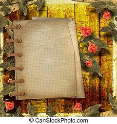 grunge, fondo, per, congratulazione, con, quaderno, e,...