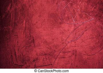 grunge, fondo rojo, textura, cicatrizarse, -, viejo, grungy,...
