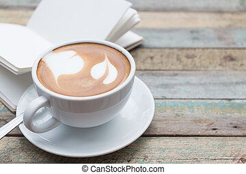 grunge, fondo, tazza, caffè, quaderno