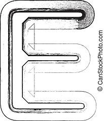 Grunge font. Letter E